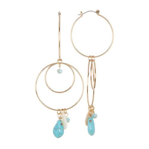 Stone & Bead Double Drop Hoop Earrings