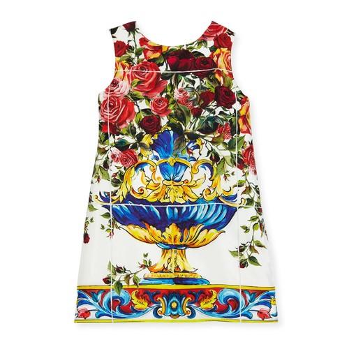 DOLCE & GABBANA Sleeveless Maiolica-Print Dress, White Pattern, Size 8-12