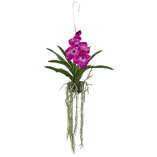 Nearly Natural 41 in. Vanda Orchid Hanging Basket Artificial Plant