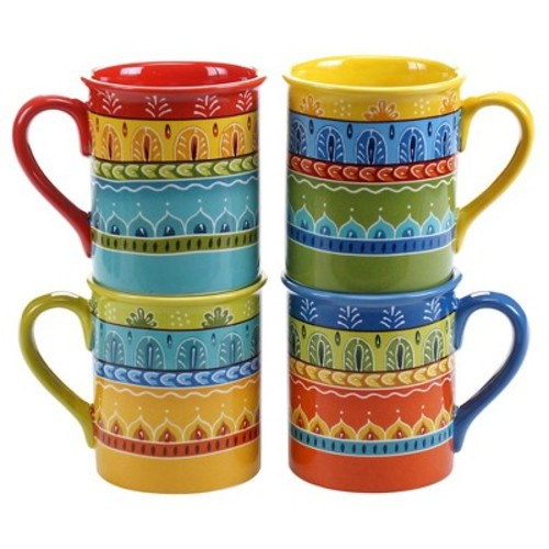 Certified International Valencia Set of 4 Mug 16 oz. Assorted