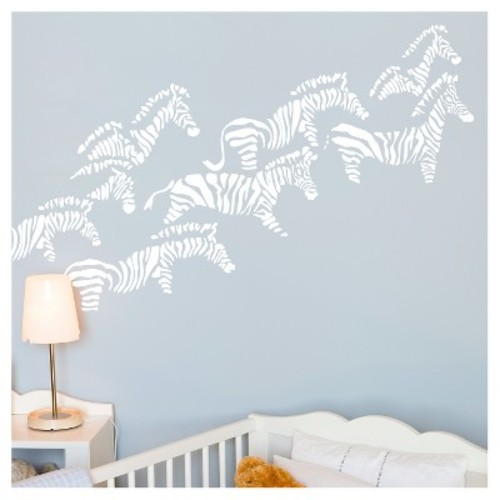 Herd of Zebra Nursery Wall Decals - White