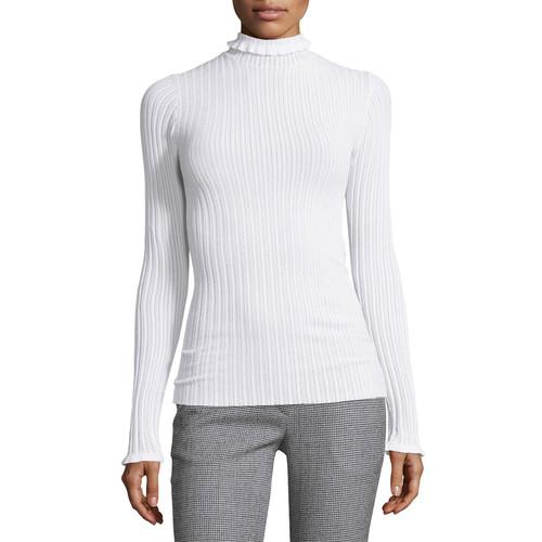 DEREK LAM Ribbed Ruffle-Trim Turtleneck Sweater