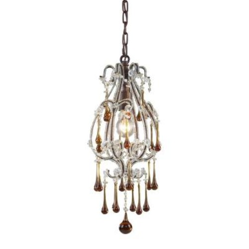 Titan Lighting Opulence 1-Light Deep Rust Ceiling Pendant