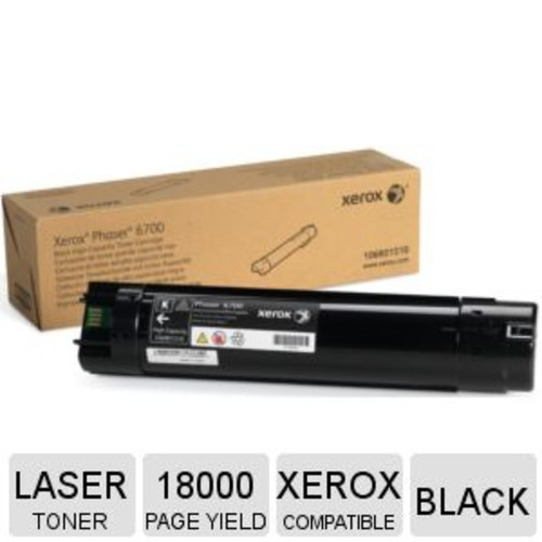 Xerox High Capacity Black Original Toner Cartridge - Up to 18,000 Page Yield, Black Color, Compatible With Xerox Phaser 6700Dn, 6700DT, 6700DX & 6700N Printers - 106R01510
