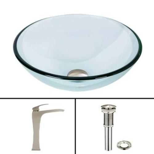 VIGO Glass Vessel Sink in Crystalline and Blackstonian Vessel Faucet Set in Brushed Nickel
