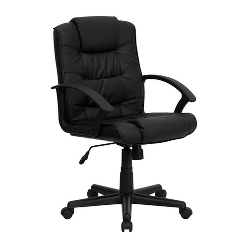 Offex Mid-Back Black Leather Office Chair With Casters