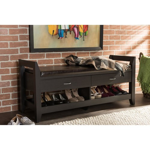 Baxton Studio Dark Brown Wood Bench