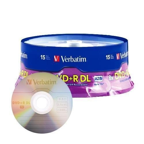 Verbatim DVD+R DL AZO 8.5GB 8x-10x Branded Double Layer Recordable Disc, 15-Disc Spindle 95484 [15-Disc]