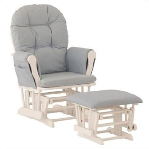 Storkcraft Stork Craft Custom Hoop Glider and Ottoman in White and Light Blue