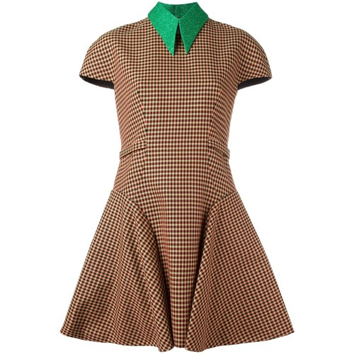 DELPOZO Short Sleeve Checked Dress