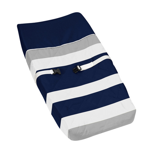 Sweet Jojo Designs Navy Blue and Gray Stripe Changing Pad Cover