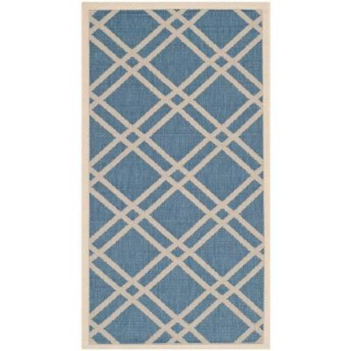 Safavieh Courtyard Blue/Beige 3 ft. x 5 ft. Indoor/Outdoor Area Rug
