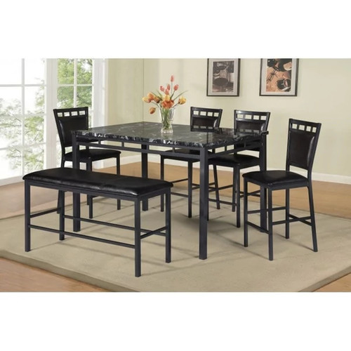 Best Quality Furniture Counter Height Faux Marble Table Top Dining Set