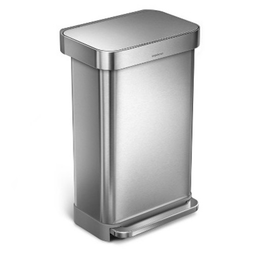simplehuman studio 45 Liter Rectangular Step Trash Can - Stainless Steel
