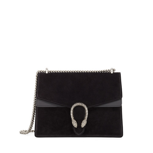 GUCCI Dionysus Suede Shoulder Bag, Black