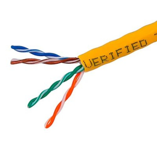 1000FT Cat5e Bulk Bare Cable Copper Ethernet Cable, UTP, Solid, Riser Rated (CMR), 350MHz, 24AWG - Yellow - GENERIC