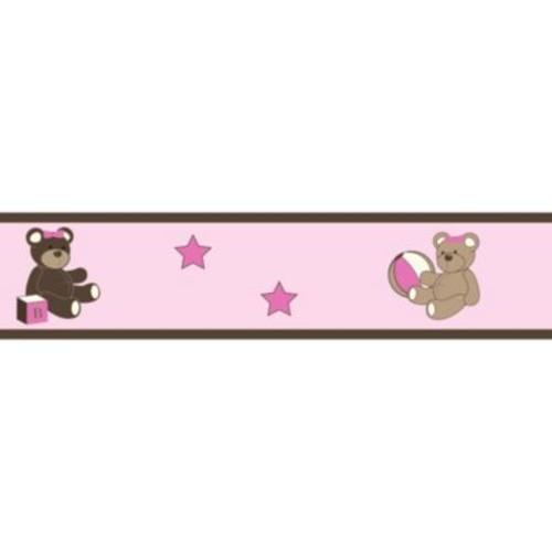 Sweet Jojo Designs Teddy Bear Wallpaper Border in Pink/Chocolate