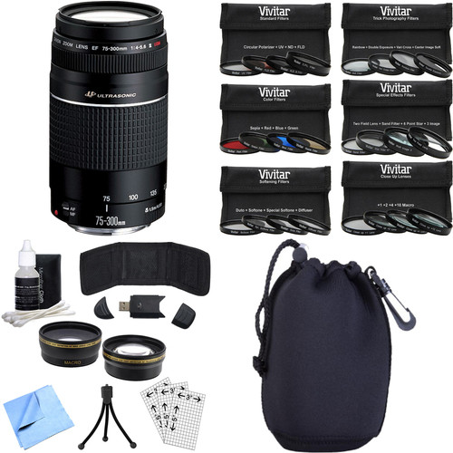 Canon EF 75-300mm F4-5.6 III Lens with Canon USA Warranty Photography Bundle