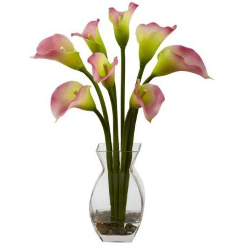 Nearly Natural Classic Calla Lily Arrangement in Pink