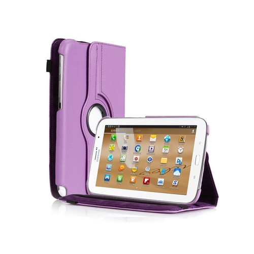 360 Degree Rotating PU Leather Case Cover With Stand For Samsung Galaxy Note 8.0 N5100 Purple