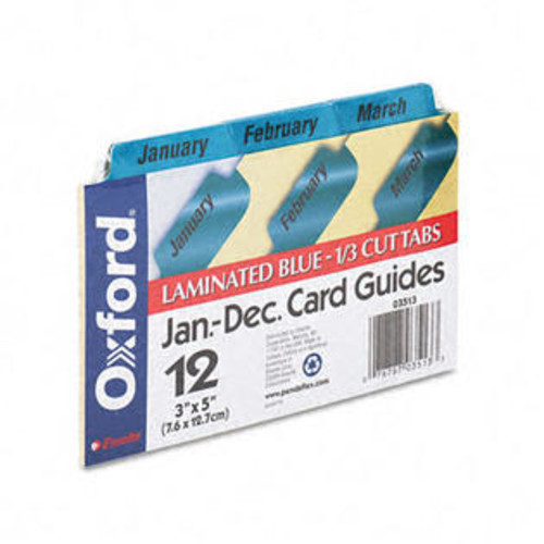 Oxford 03513 Laminated Index Card Guides- Monthly- 1/3 Tab- Manila- 3 x 5- 12/Set