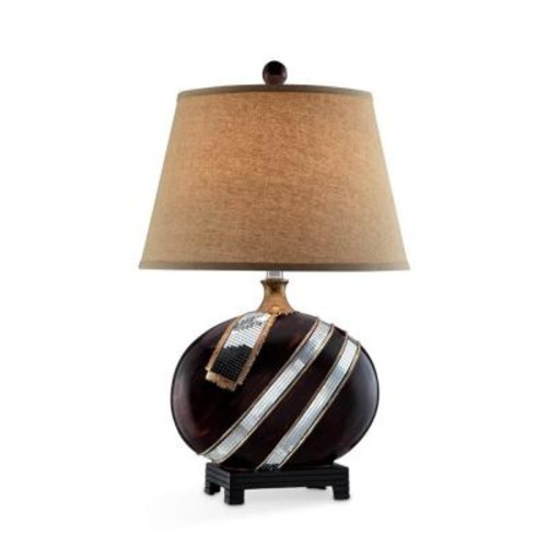 ORE International 28.5 in. Espresso Kukui Table Lamp with Glass Accent