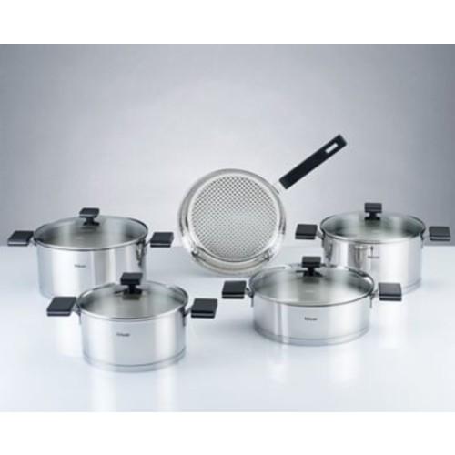HISR Milan 9 Piece Stainless Steel Cookware Set; Black