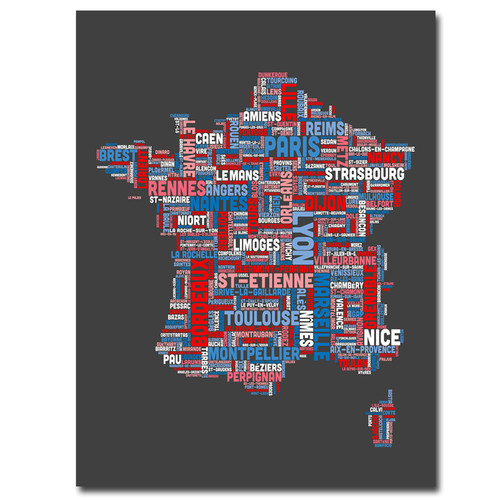 Trademark Global Michael Tompsett 'France City Text Map' Canvas Art [Overall Dimensions : 35x47]