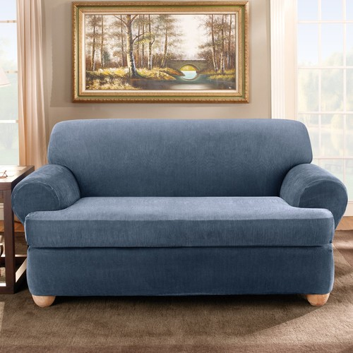 Sure-Fit Stretch Stripe Two Piece Sofa T-Cushion Slipcover