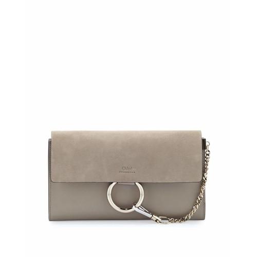 CHLOE Faye Leather & Suede Clutch Bag, Light Gray