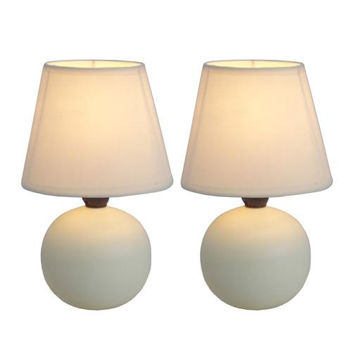 Simple Designs Mini Ceramic Globe Table Lamp 2 Pack Set Off White