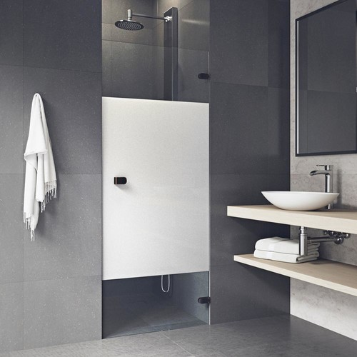 VIGO Tempo 28 in. to 28.5 in. x 70.62 in. Adjustable Frameless Hinged Shower Door in Antique Rubbed Bronze with Privacy Glass