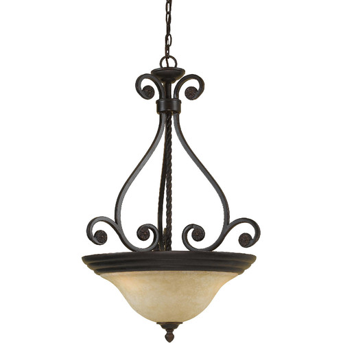 AF Lighting Harmony 3-Light Pendant with Frosted Alabaster Glass Shade, Oil-Rubbed Bronze