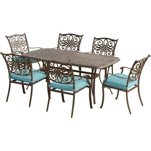 Hanover Traditions 7-Piece Aluminum Outdoor Dining Set with Rectangular Cast-Top Table with Blue Cushions