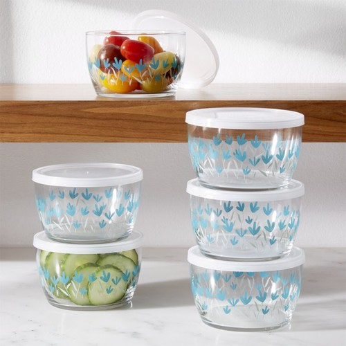 Fleur Glass Bowls with Lids, Set of 6