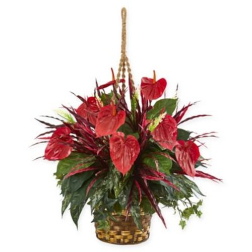 Nearly Natural Mixed Anthurium Artificial Plant with Hanging Basket