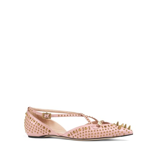 GUCCI Unia Studded Pointed Toe Flats