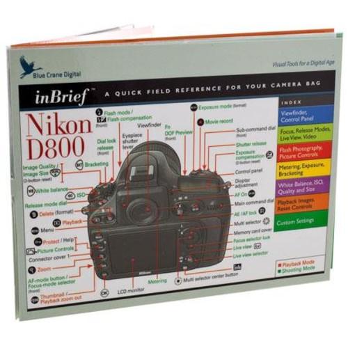 Blue Crane Digital inBrief Laminated Reference Card for Nikon D800 DSLR Camera BC545