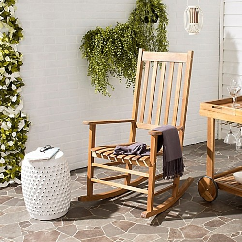Safavieh Shasta Outdoor Rocking Chair in Teak