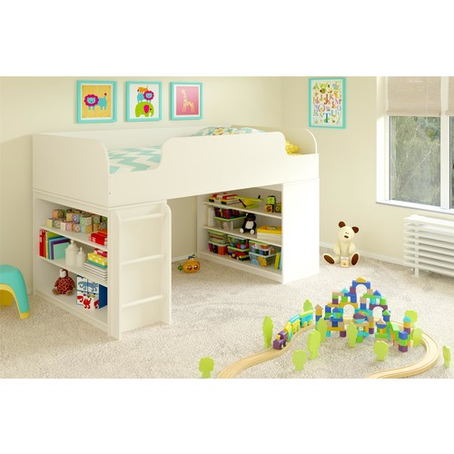 Elements White Stipple Loft Bed with Two Bookcases