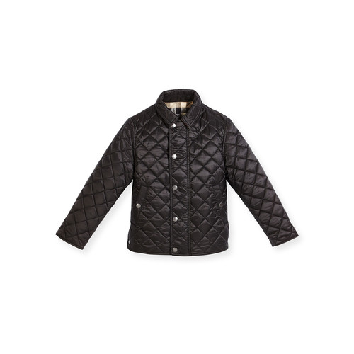 BURBERRY Luke Quilted Snap-Front Jacket, Black, Size 4-14