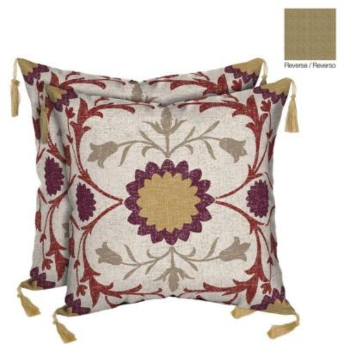 Bombay Outdoors Turkish Garden/Kenya Reversible Square Toss Outdoor Cushion Pillow with Tassels (2-Pack)