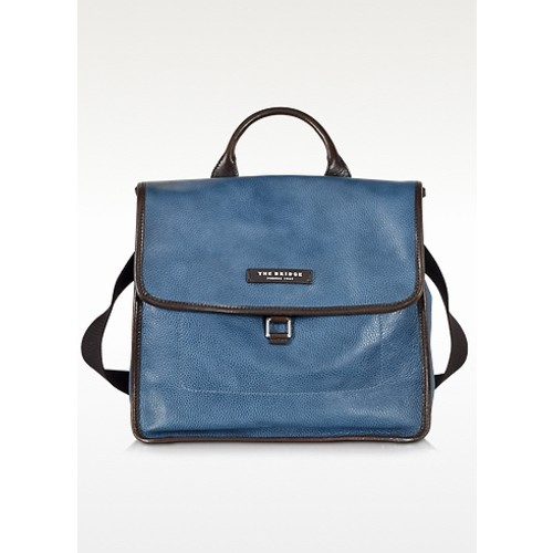 Urban Blue Leather Small Backpack