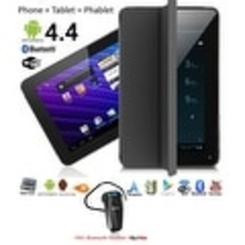 Indigi 7.0inch Unlocked 2-in-1 Android 4.4 Smartphone + TabletPC w/ Built-in Smart Cover (Black)+ Bluetooth Included - Black