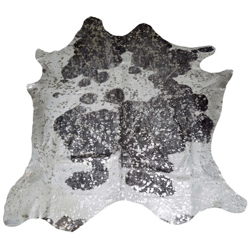 Silver Acid Wash Black and White Cowhide Rug design by BD Hides - 5'5\