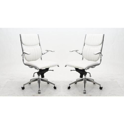 Manhattan Comfort Ergonomic High Back Verdi White Office Chair (Set of 2)