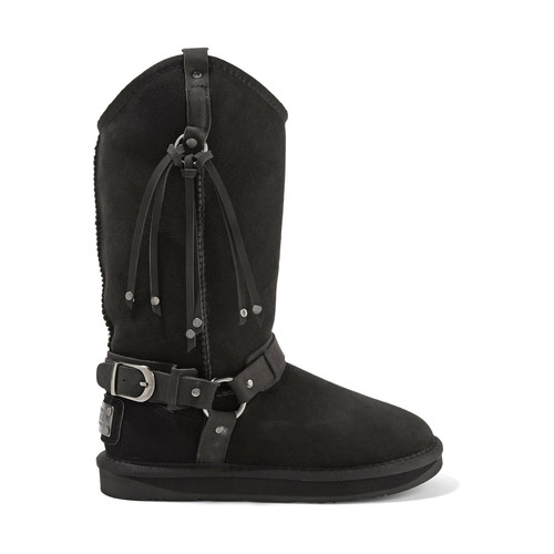 HARNESS EMBELLISHED SHEARLING BOOTS