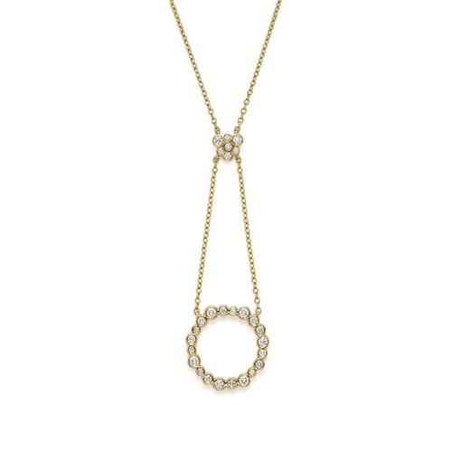18K Yellow Gold Glamazon Stardust Bezel Circle Pendant Necklace with Diamonds, 16