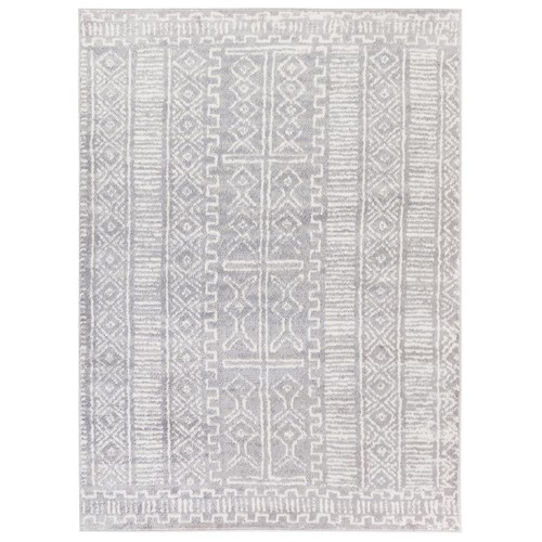 Jasmin Collection Moroccan Trellis Gray/Ivory 5 ft. 3 in. x 7 ft. 3 in. Area Rug