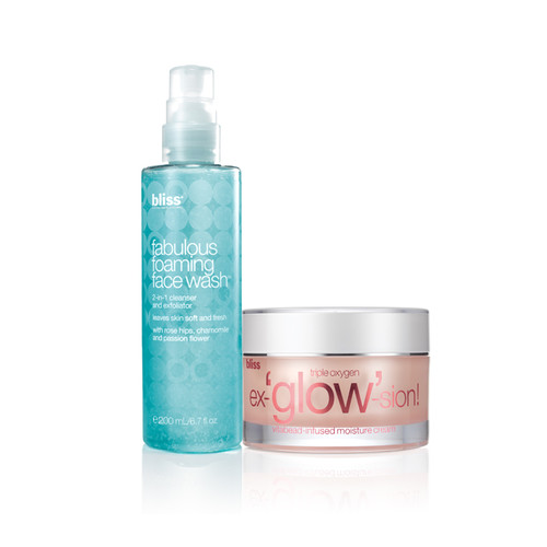 fabulous foaming face wash + triple oxygen ex-'glow'-sion moisturizer set